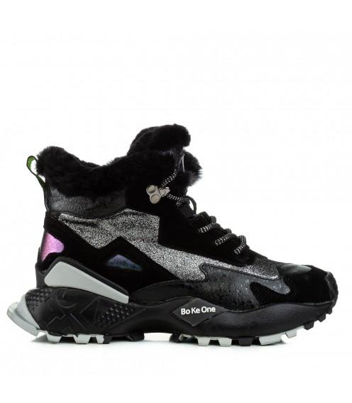Кросівки жіночі зимові чорні з сріблястими вставками Lifexpert