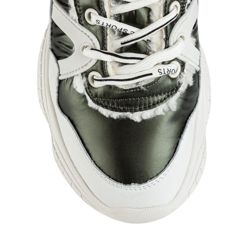 Черевики жіночі білі з зеленими вставками на шнурках з хутром на масивній платформі