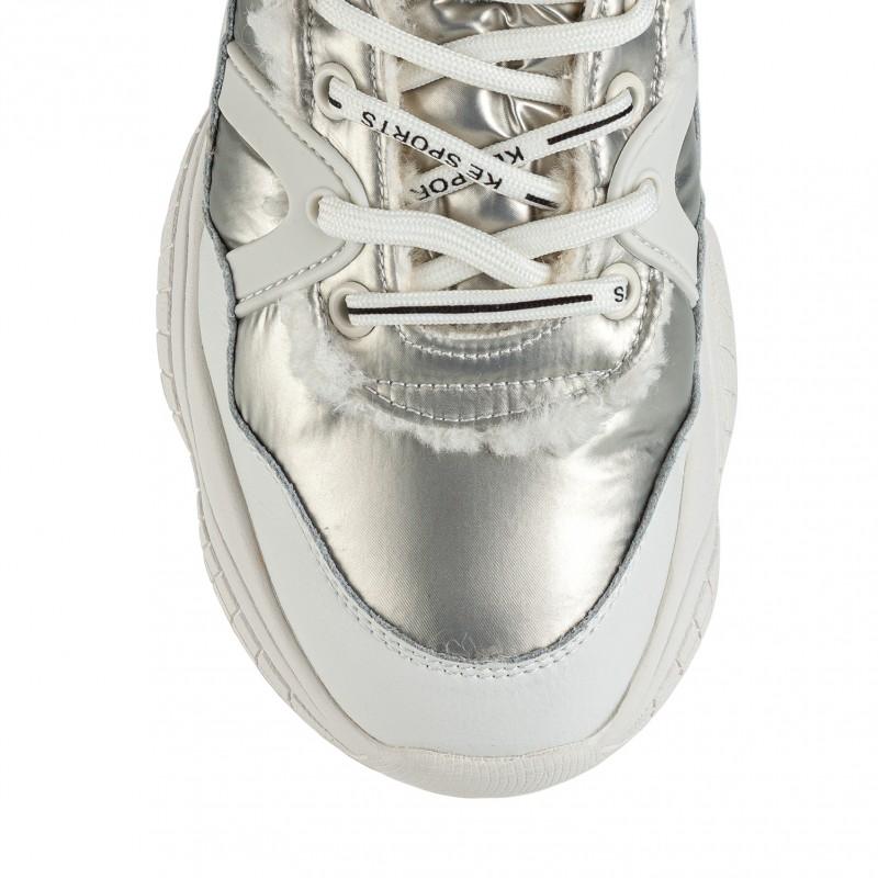 Черевики жіночі спортивні білі з сріблястими вставками Lifexpert