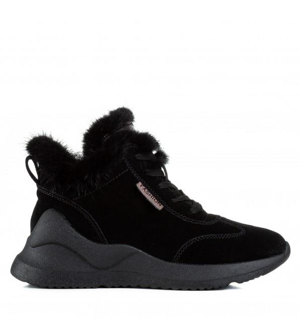 Черевики жіночі спортивні чорні з хутром на шнурівках на платформі V.I.Konty