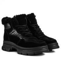 Ботинки женские спортивные черные с мехом на шнуровке на платформе V.I.Konty
