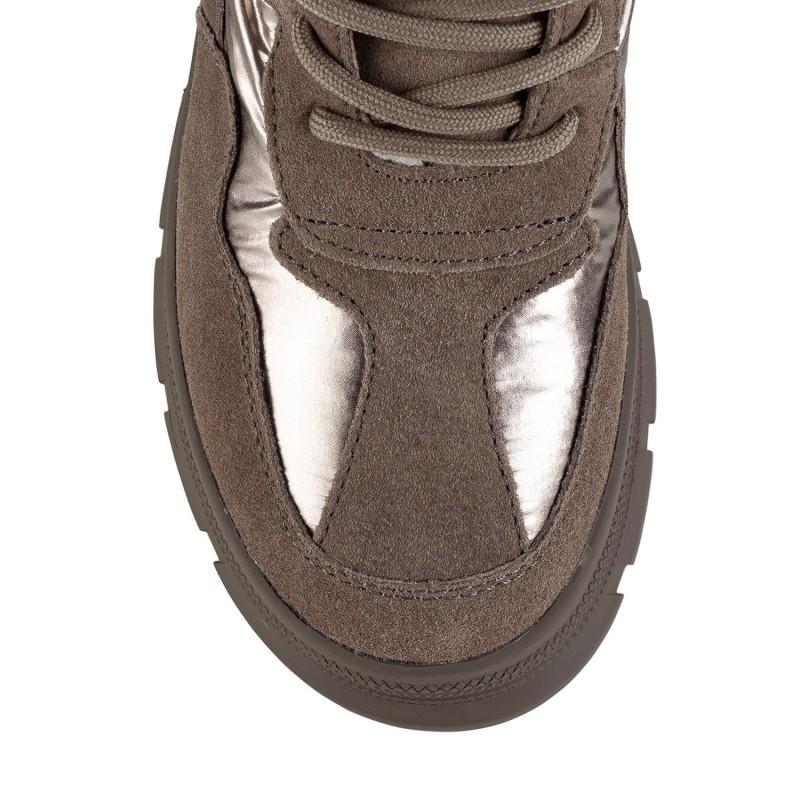 Черевики жіночі спортивні коричневі з хутром на шнурівках на платформі V.I.Konty