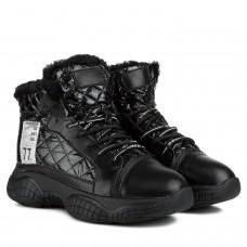 Ботинки женские спортивные удобные V.I.Konty черные на платформе на шнуровке