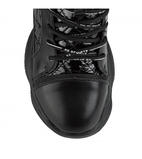 Черевики жіночі спортивні зручні V.I.Konty чорні на платформі на шнурівках