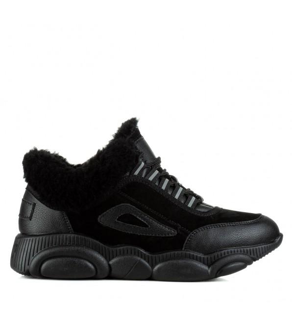 Кросівки V.I.Konty чорні шкіряні на зручній платформі на шнурівках