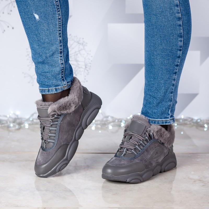 Кросівки жіночі сірі на хутрі V.I.Konty на зручній підошві шкіряні на шнурках