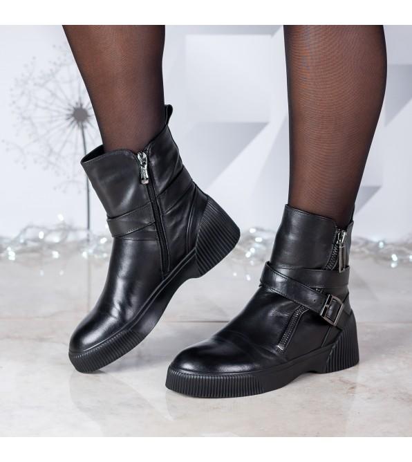 Черевики жіночі шкіряні комфортні SrinkSolo з пряжкою з замком чорні