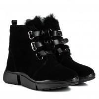 Ботинки женские замшевые декорированные мехом SprinkSolo черные замшевые