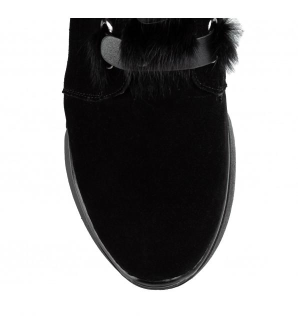 Черевики жіночі замшеві декоровані хутром SprinkSolo чорні замшеві