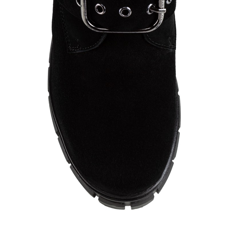 Черевики жіночі замшеві з пряжками SprinkSolo чорні замшеві на товстому каблуці