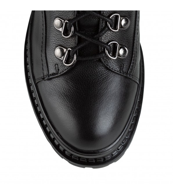 Черевики жіночі шкіряні з модною підошвою Bonetti Co на шнурках чорні