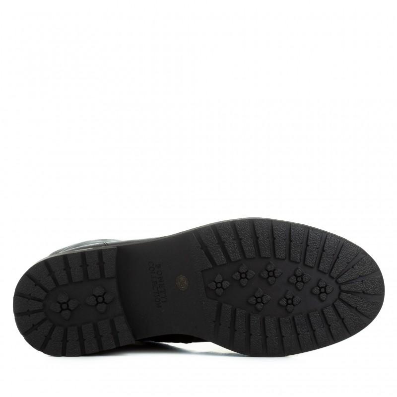 Черевики жіночі шкіряні з декоративним замочком Bonetti Co чорні