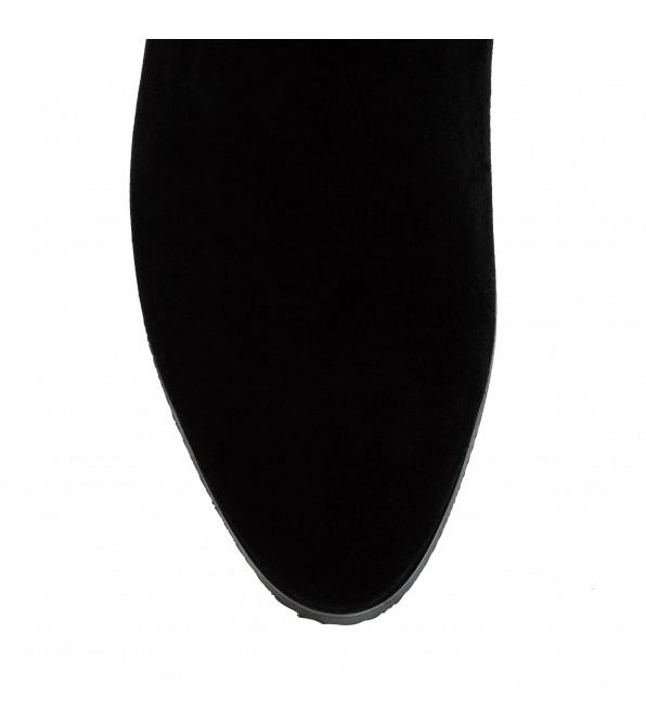 Чоботи жіночі замшеві на каблуці чорні класичні Bonetti Co