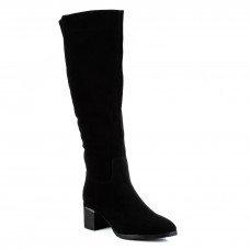 Сапоги женские замшевые тепле на каблуке Bonetti Co черные классические