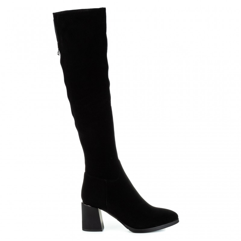 Ботфорти жіночі замшеві чорні високі на товстому каблуці