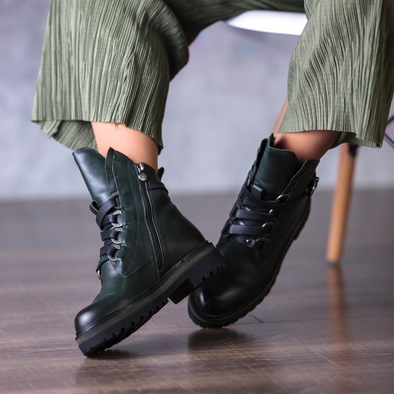 Черевики жіночі шкіряні зелені на шнурках Anemone