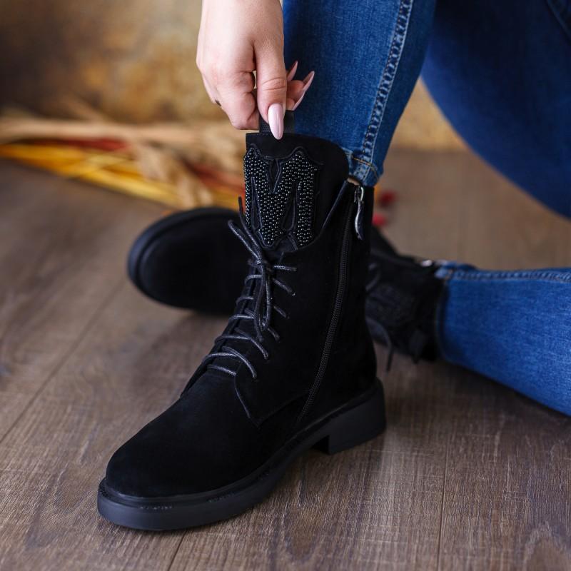 Черевики жіночі замшеві чорні зимові My classic