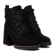 Ботильоны женские замшевые черные зимние на толстом каблуке Vidorcci