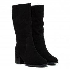 Полусапожки женские замшевые черные на среднем каблуке My classic