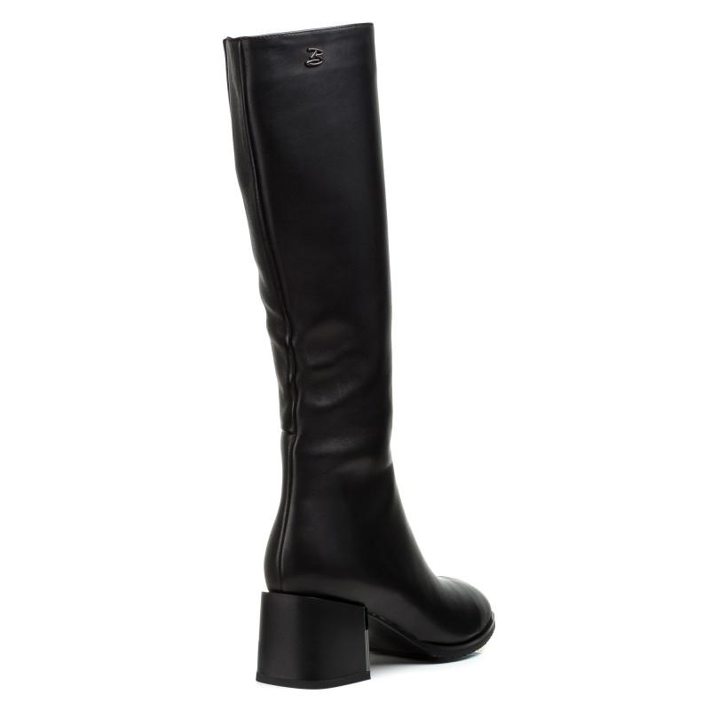 Сапоги женские кожаные черные на среднем каблуке Brocoli
