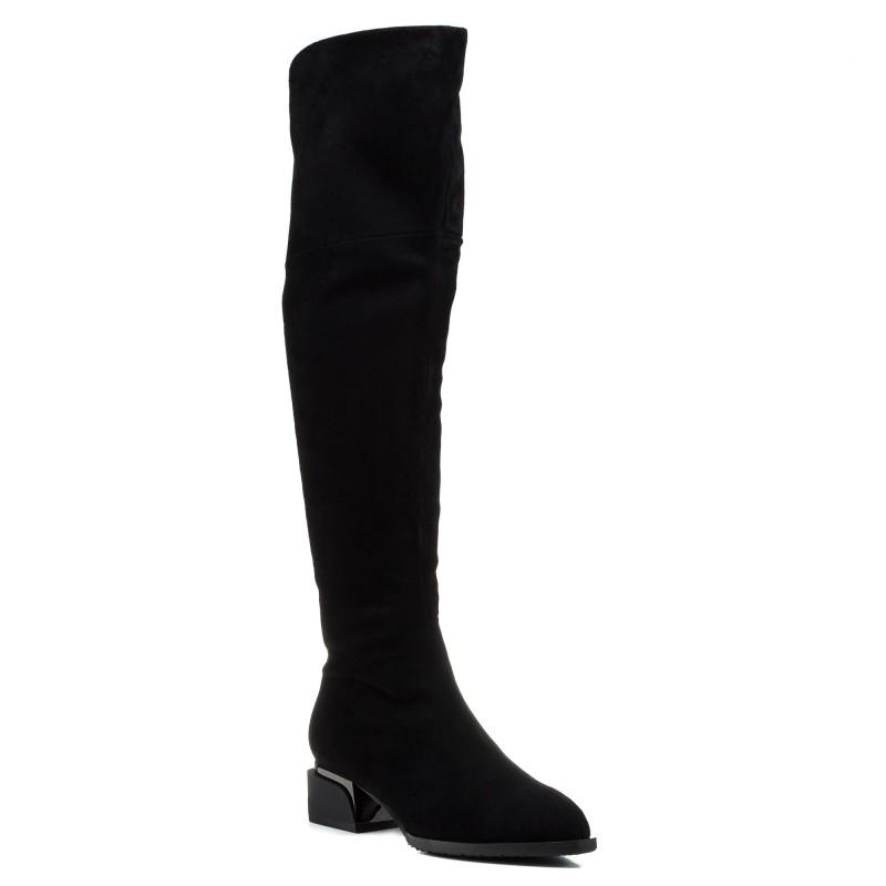 Ботфорти жіночі замшеві зимові чорні Brocoli