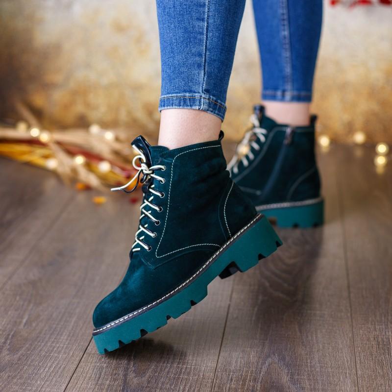 Черевики жіночі замшеві зелені зимові Brocoli