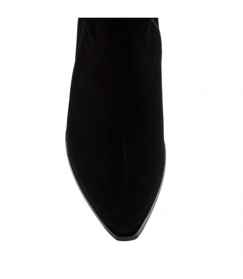 Ботфорти  жіночі замшеві чорні на низькому каблуці Sufinna