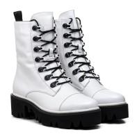 Ботинки женские кожаные зимние белые на платформе Sufinna