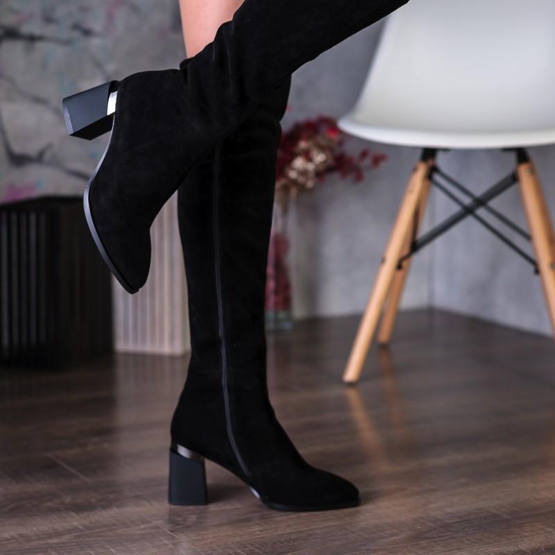 Ботфорти жіночі замшеві чорні на каблуці Sufinna