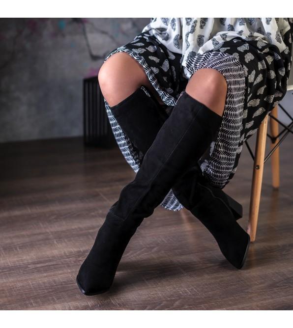 Чоботи жіночі замшеві чорні на каблуці Angelo Vani