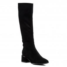 Сапоги женские замшевые черные на среднем каблуке Vidorcci