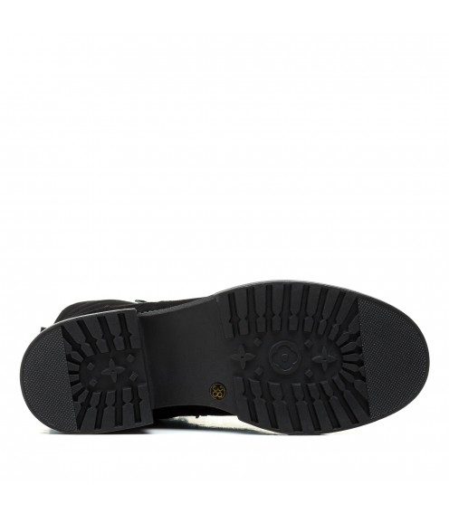 Черевики жіночі замшеві чорні на шнурках mossani
