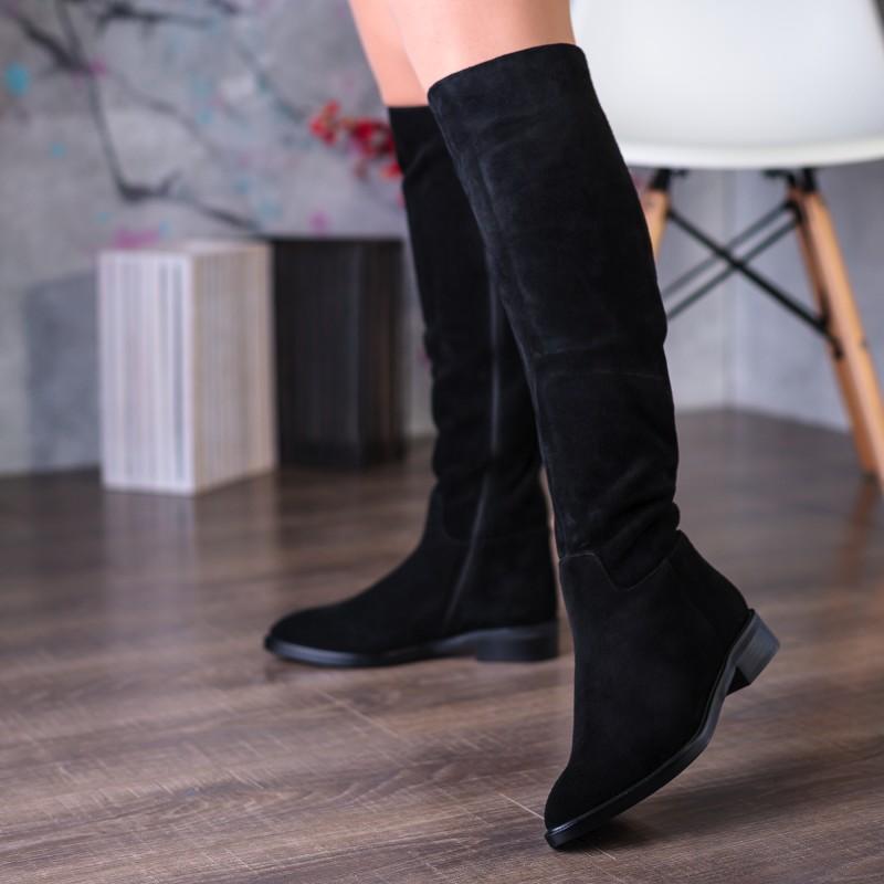 Чоботи жіночі замшеві зимові чорні Nadi bella