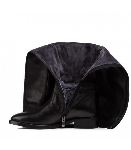 Чоботи жіночі шкіряні чорні на низькому каблуці Nadi bella