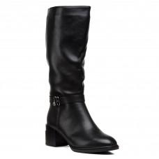 Сапоги женские кожаные черные на каблуке Geronea