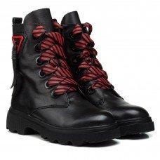 Ботинки женские кожаные черные зимние Farinni