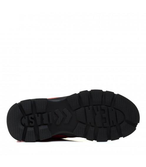 Ботинки женские кожаные кораловый оттенок зимние Farinni