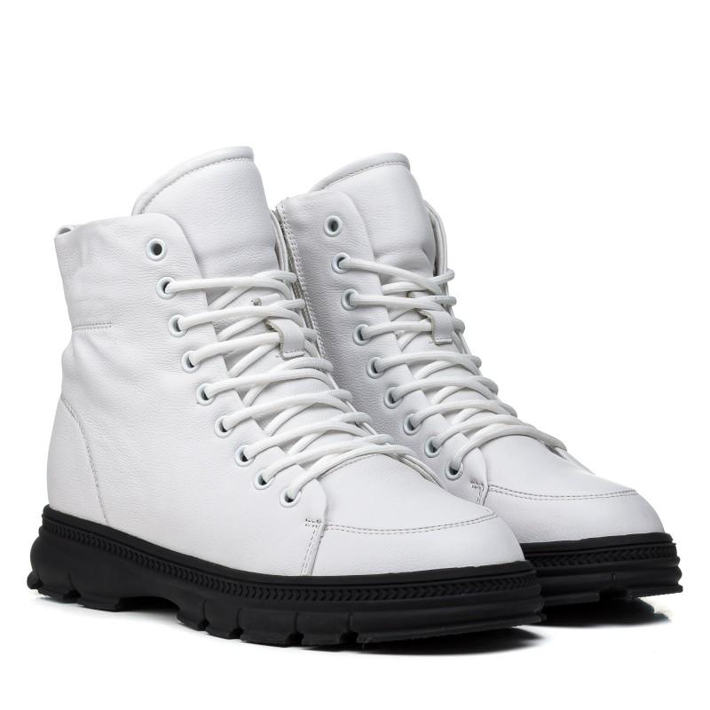 Ботинки женские кожаные белые на низком ходу Farinni