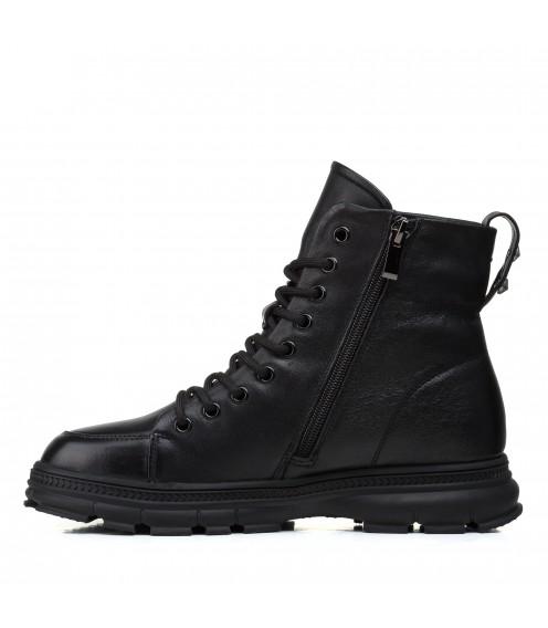 Ботинки женские кожаные черные на низком ходу Farinni