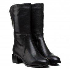 Полусапоги женские кожаные черные на низком каблуке Velly
