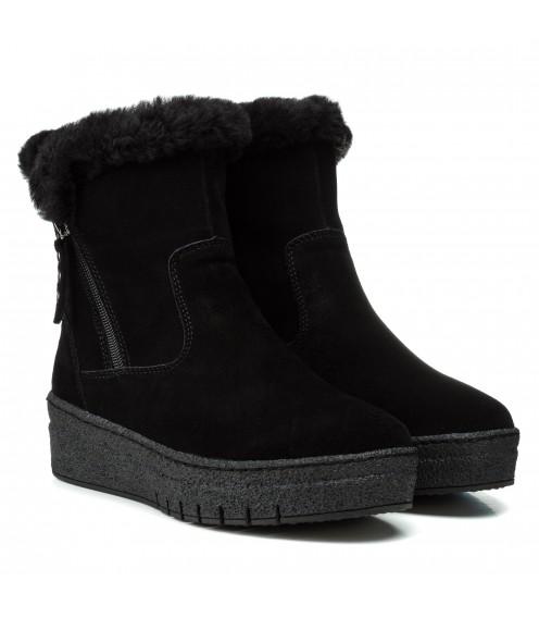 Черевики жіночі замшеві чорні зимові без каблука Meegocomfort