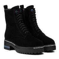 Ботинки женские замшевые черные зимние oeego