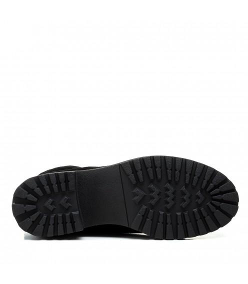 Черевики жіночі замшеві чорні зимові oeego