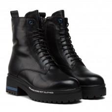 Черевики жіночі шкіряні чорні на шнурках oeego