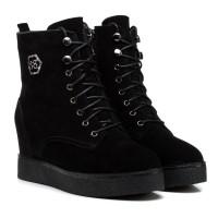 Ботинки женские замшевые черные на танкетке oeego