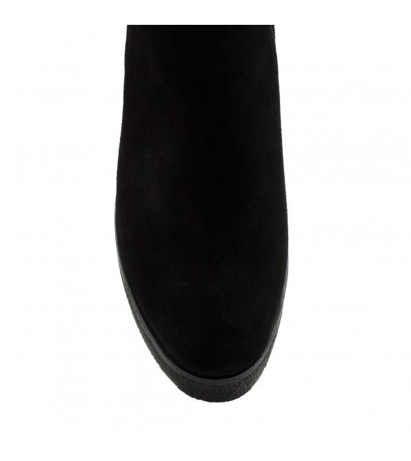 Черевики жіночі замшеві чорні на танкетці Lifexpert