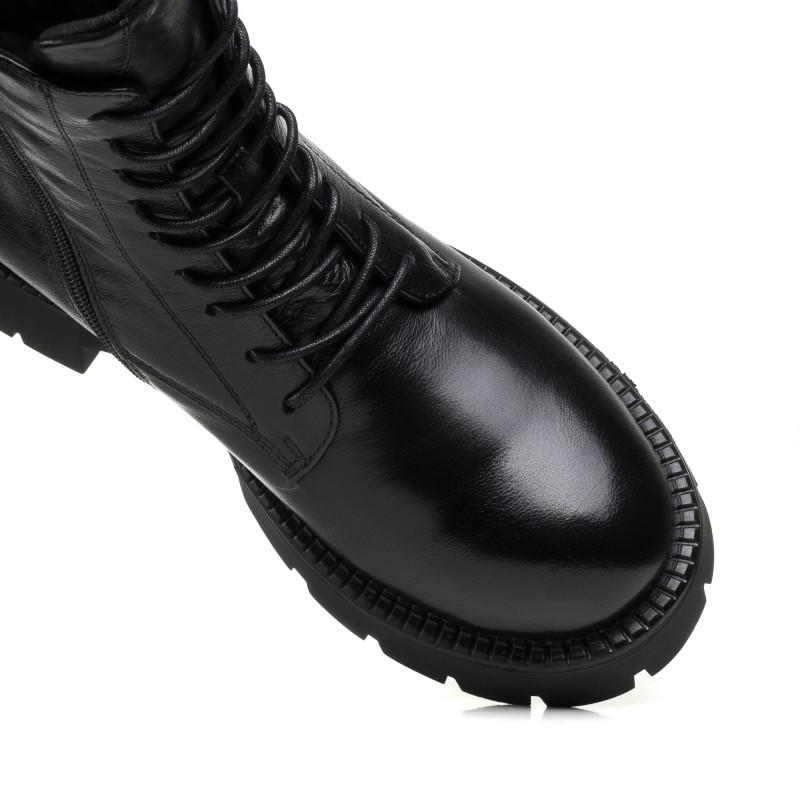 Черевики зимові шкіряні жіночі чорні на шнурівках Anemone