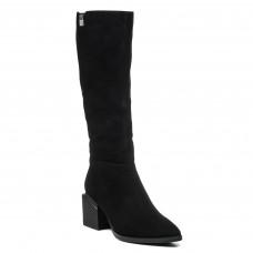 Чоботи Lady marcia замшеві чорні на каблуку з гострим носиком