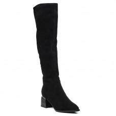 Ботфорты Lady marcia черные замшевые стильные на удобном каблуке