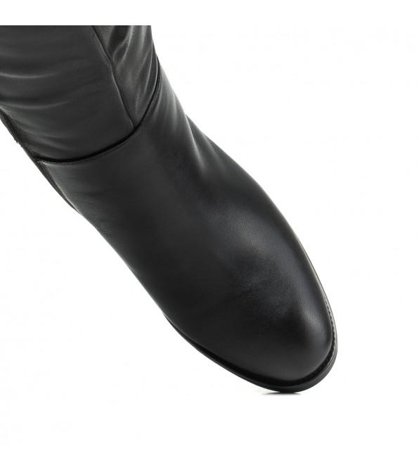 Чоботи жіночі шкіряні на каблуку чорні Lady marcia